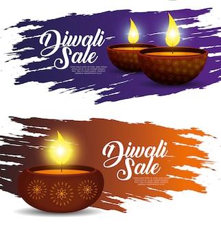 Banners de vendas de diwali com velas