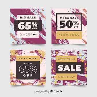 Banners de vendas de mídia social de moda