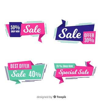 Banners de vendas de origami abstrato
