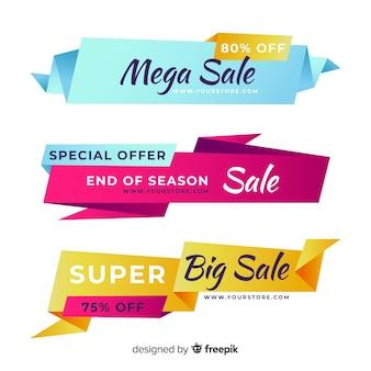 Banners de vendas de origami colorido