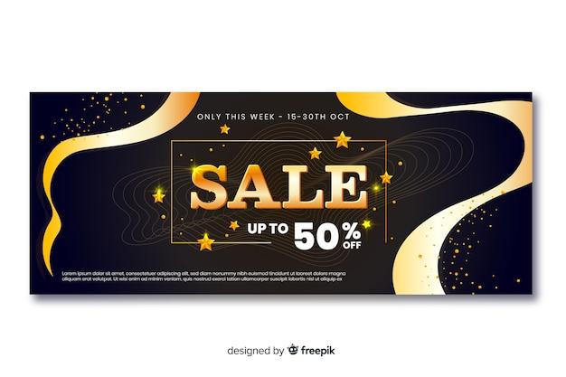 Banners de vendas de ouro com linhas de onda