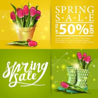 Banners de vendas de primavera com buquê de tulipas