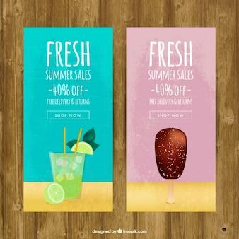 Banners de vendas de sucos de frutas e sorvetes