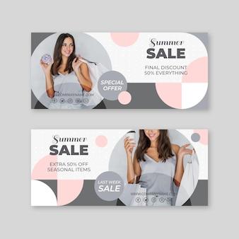Banners de vendas de verão de design plano com foto