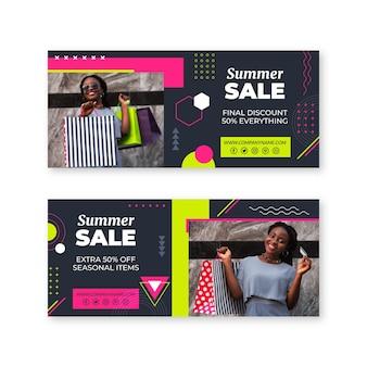 Banners de vendas de verão de design plano