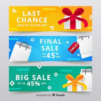 Banners de vendas geométricas abstratas com elementos realistas