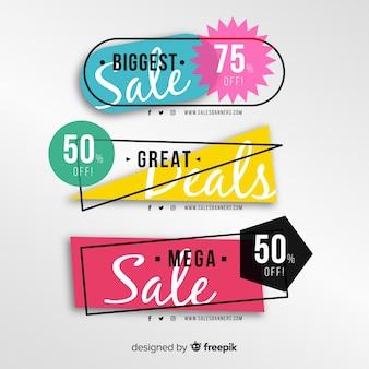 Banners de vendas geométricas abstratas