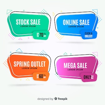Banners de vendas geométricas