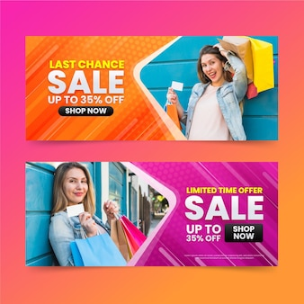 Banners de vendas gradientes com desconto