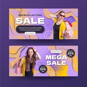 Banners de vendas gradientes com foto