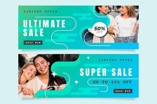 Banners de vendas gradientes com oferta