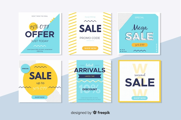 Banners de vendas modernas coloridas para mídias sociais