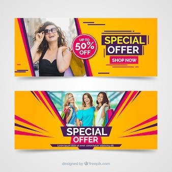 Banners de vendas modernas com foto