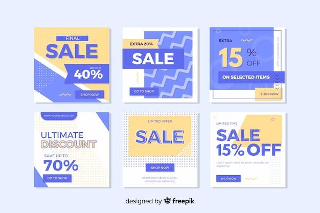 Banners de vendas modernas criativas para mídias sociais