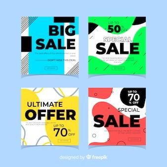 Banners de vendas modernas para mídias sociais