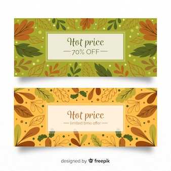 Banners de vendas Outono com folhas de outono