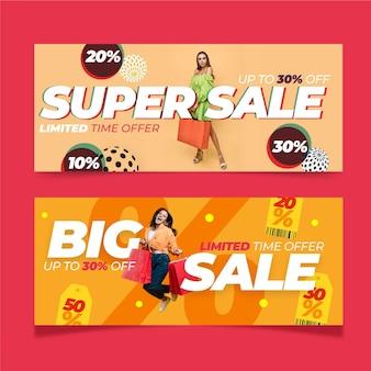Banners de vendas planas com foto