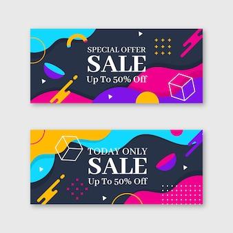 Banners de vendas planos abstratos com oferta especial