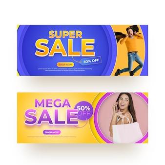 Banners de vendas realistas com desconto