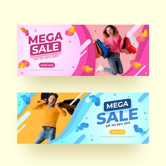 Banners de vendas realistas com foto