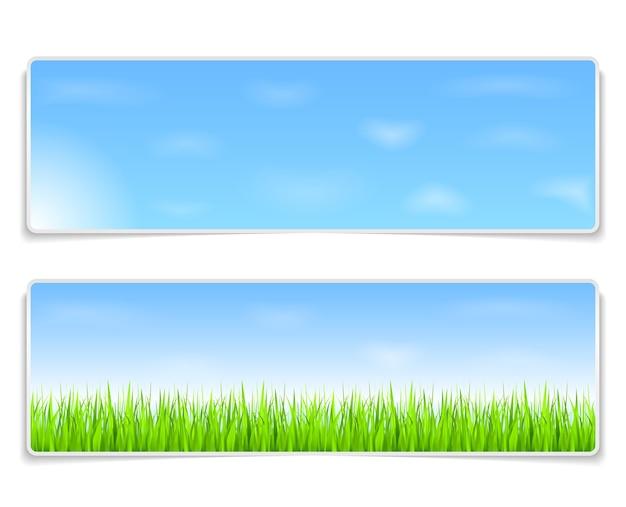 Banners de verão com céu azul e grama verde