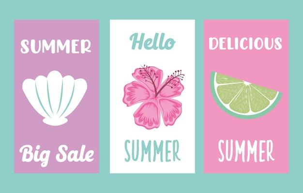 Banners de verão com desenhos animados de ícones de verão. ilustração em vetor