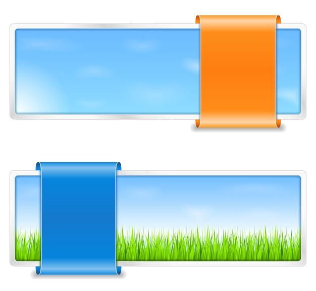 Banners de verão com grama verde e céu azul