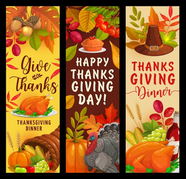 Banners de vetor de ação de graças feliz com folhas caindo, colheita de outono, torta de abóbora, turquia, cornucópia e frutas. bordo, carvalho ou choupo e bétula com folhagem de sorveira-brava. cartões comemorativos do dia de agradecimento
