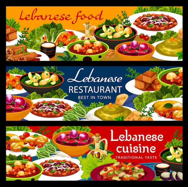 Banners de vetor de comida de restaurante de cozinha libanesa