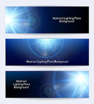 Banners de vetor de flare de iluminação abstrata. luz estelar