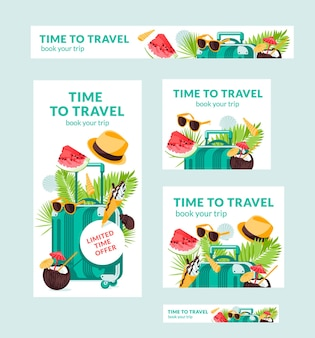 Banners de vetor de ilustração de viagens trópicas de verão de tamanhos diferentes são adequados para cartaz folheto a