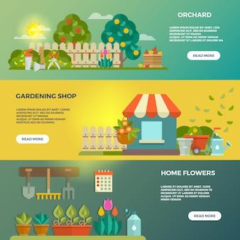 Banners de vetor de jardinagem com ferramentas de jardim