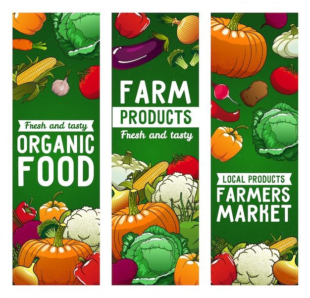 Banners de vetor de vegetais, comida de fazenda, vegetais ecológicos