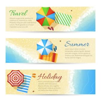 Banners de vetor de viagens de verão com praia do mar