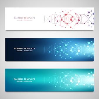 Banners de vetor e cabeçalhos para site com fita de dna e estrutura molecular. engenharia genética ou pesquisa de laboratório.