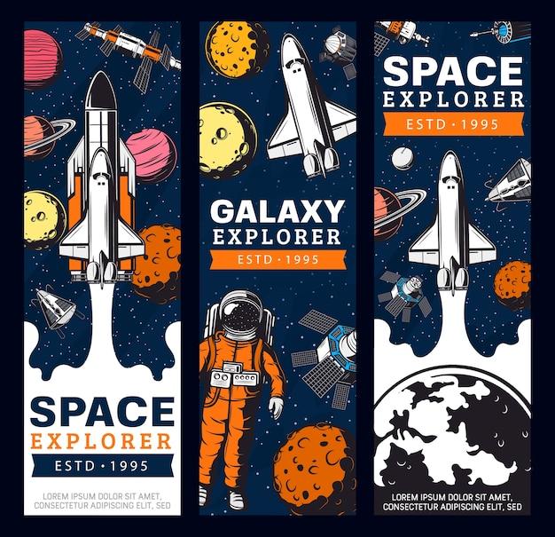 Banners de vetor retrô de exploração espacial