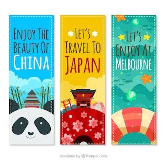 Banners de viagem alegres para diferentes lugares