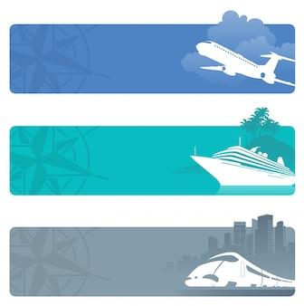 Banners de viagem com a silhueta de transporte contemporâneo.