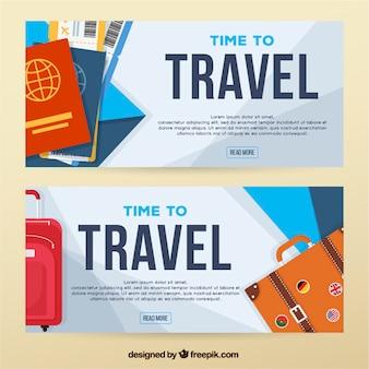 Banners de viagem com passaportes e bagagens