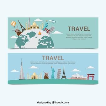 Banners de viagem com vários monumentos