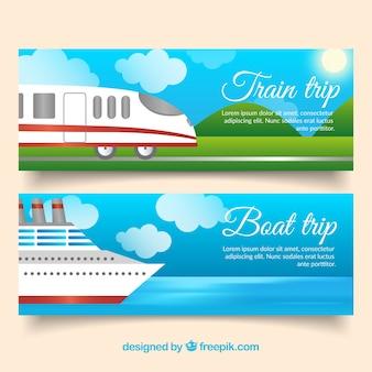 Banners de viagem de trem e barco