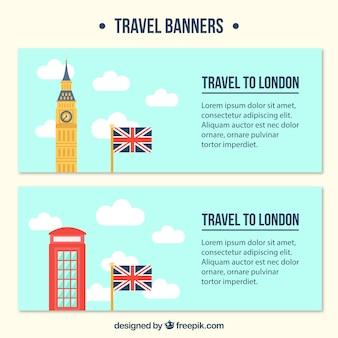 Banners de viagem em londres em design plano
