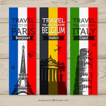 Banners de viagem para paris, bélgica e itália