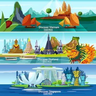 Banners de viagens asiáticas