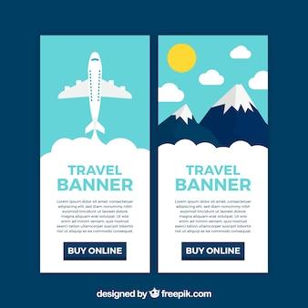 Banners de viagens coloridas com design plano