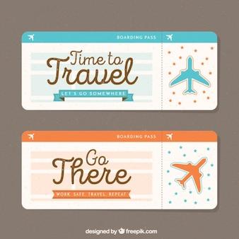 Banners de viagens com aviões de decoração no estilo do vintage