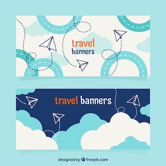 Banners de viagens com aviões de papel