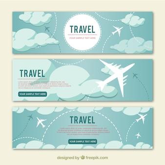 Banners de viagens com design plano