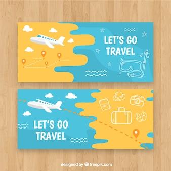Banners de viagens com elementos de mão desenhada