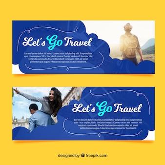 Banners de viagens com fotografia de destino